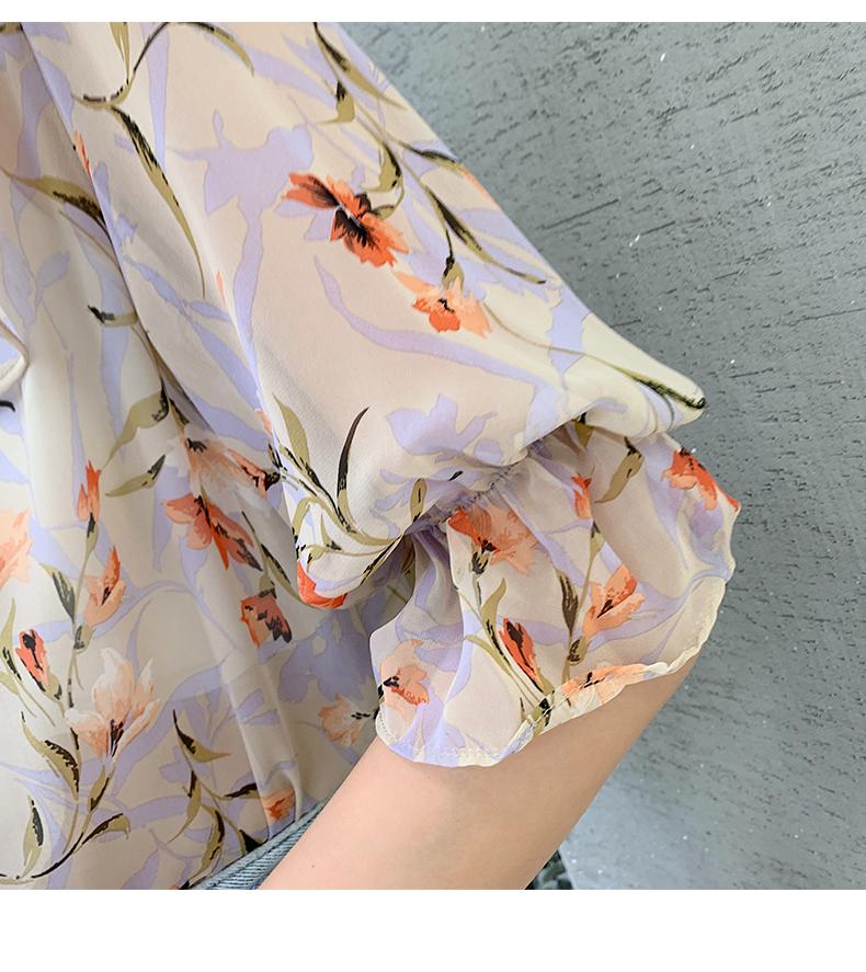 韓国 ファッション トップス ブラウス シャツ 春 夏 カジュアル PTXJ696  シアー シフォン ビッグカラー 五分袖 オルチャン シンプル 定番 セレカジの写真14枚目
