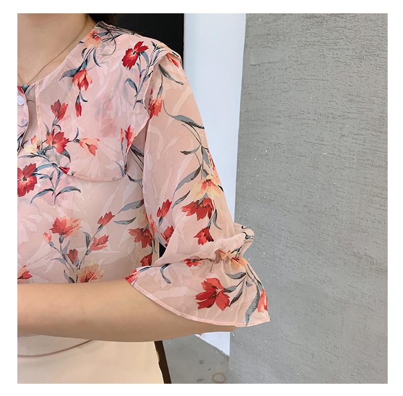 韓国 ファッション トップス ブラウス シャツ 春 夏 カジュアル PTXJ696  シアー シフォン ビッグカラー 五分袖 オルチャン シンプル 定番 セレカジの写真20枚目