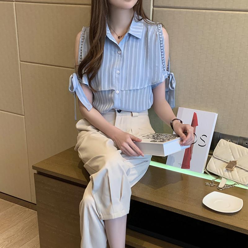 韓国 ファッション トップス ブラウス シャツ 春 夏 カジュアル PTXJ698  オープンショルダー リボン ストライプ オルチャン シンプル 定番 セレカジの写真5枚目