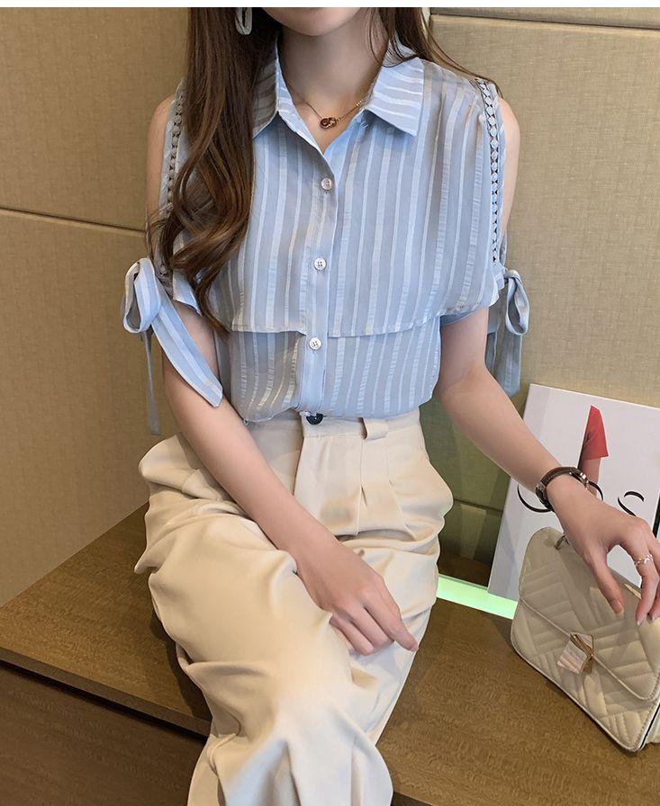 韓国 ファッション トップス ブラウス シャツ 春 夏 カジュアル PTXJ698  オープンショルダー リボン ストライプ オルチャン シンプル 定番 セレカジの写真9枚目