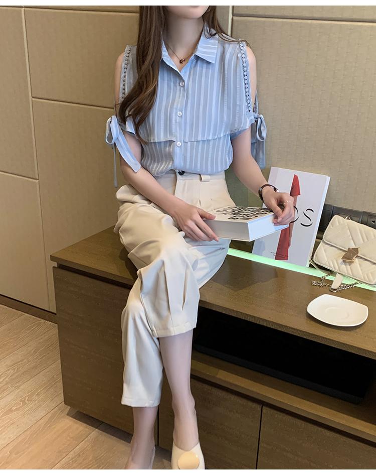 韓国 ファッション トップス ブラウス シャツ 春 夏 カジュアル PTXJ698  オープンショルダー リボン ストライプ オルチャン シンプル 定番 セレカジの写真13枚目