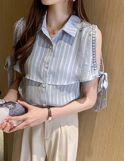 韓国 ファッション トップス ブラウス シャツ 春 夏 カジュアル PTXJ698  オープンショルダー リボン ストライプ オルチャン シンプル 定番 セレカジの写真15枚目