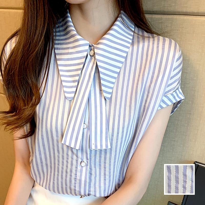 韓国 ファッション トップス ブラウス シャツ 春 夏 カジュアル PTXJ701  ストライプ ボウタイ フレンチスリーブ風 オルチャン シンプル 定番 セレカジの写真1枚目