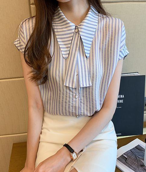 韓国 ファッション トップス ブラウス シャツ 春 夏 カジュアル PTXJ701  ストライプ ボウタイ フレンチスリーブ風 オルチャン シンプル 定番 セレカジの写真15枚目