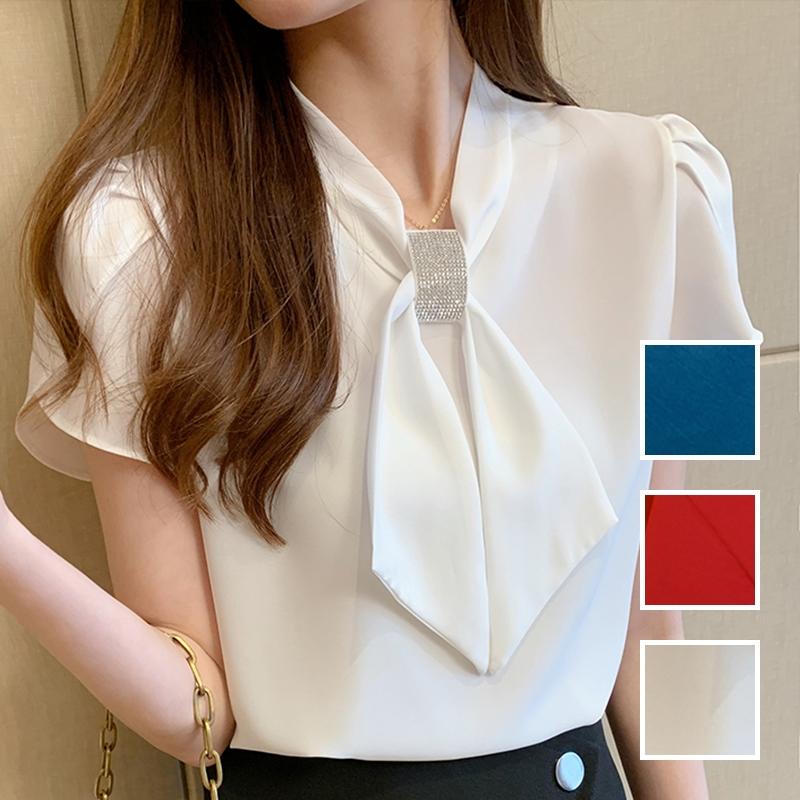 韓国 ファッション トップス ブラウス シャツ 春 夏 カジュアル PTXJ702  シアー ペタルスリーブ ビジュー スカーフ風 オルチャン シンプル 定番 セレカジの写真1枚目