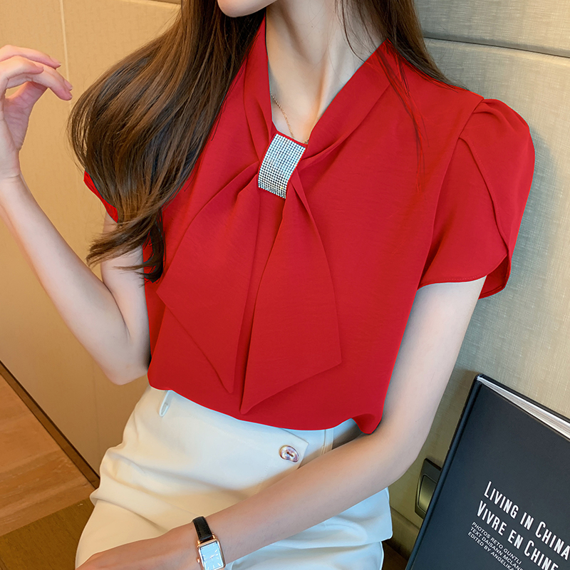 韓国 ファッション トップス ブラウス シャツ 春 夏 カジュアル PTXJ702  シアー ペタルスリーブ ビジュー スカーフ風 オルチャン シンプル 定番 セレカジの写真5枚目