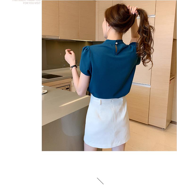 韓国 ファッション トップス ブラウス シャツ 春 夏 カジュアル PTXJ702  シアー ペタルスリーブ ビジュー スカーフ風 オルチャン シンプル 定番 セレカジの写真11枚目