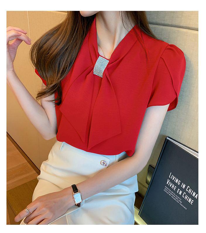 韓国 ファッション トップス ブラウス シャツ 春 夏 カジュアル PTXJ702  シアー ペタルスリーブ ビジュー スカーフ風 オルチャン シンプル 定番 セレカジの写真12枚目