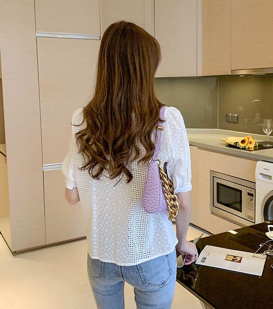 韓国 ファッション トップス ブラウス シャツ 春 夏 カジュアル PTXJ705  パンチングレース シアー スクエアネック オルチャン シンプル 定番 セレカジの写真18枚目