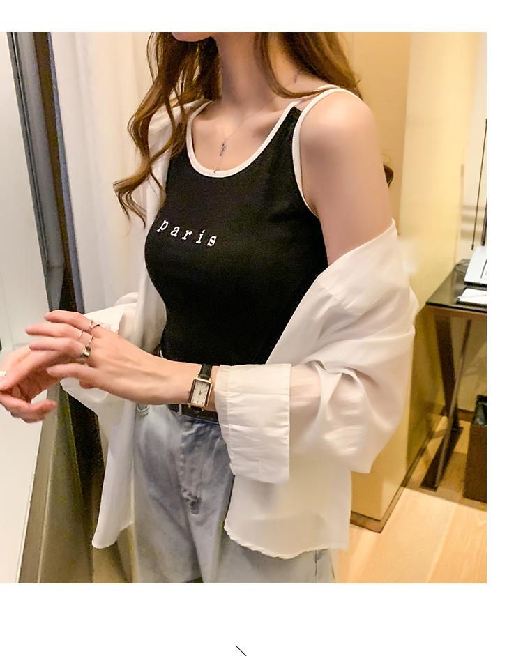 韓国 ファッション トップス タンクトップ 春 夏 カジュアル PTXJ709  パイピング ロゴ 肌見せ レイヤードコーデ オルチャン シンプル 定番 セレカジの写真19枚目
