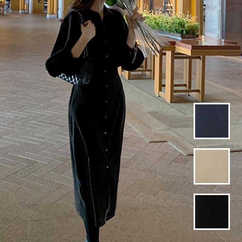韓国 ファッション ワンピース 春 秋 冬 カジュアル PTXJ735  ドルマンスリーブ シャツワンピ Yライン オルチャン シンプル 定番 セレカジの写真1枚目