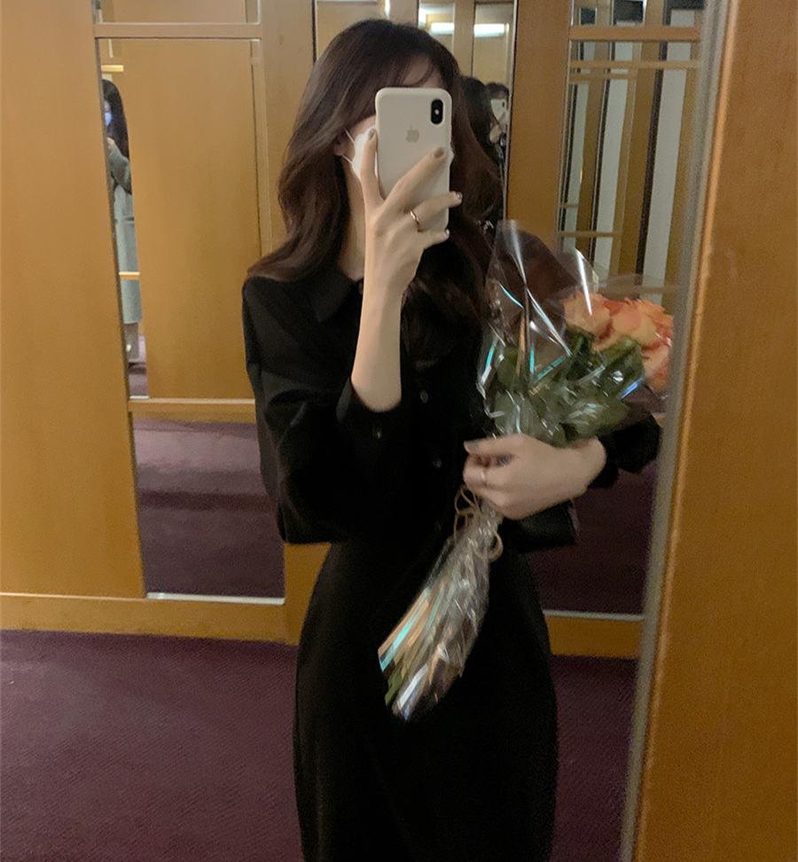 韓国 ファッション ワンピース 春 秋 冬 カジュアル PTXJ735  ドルマンスリーブ シャツワンピ Yライン オルチャン シンプル 定番 セレカジの写真2枚目