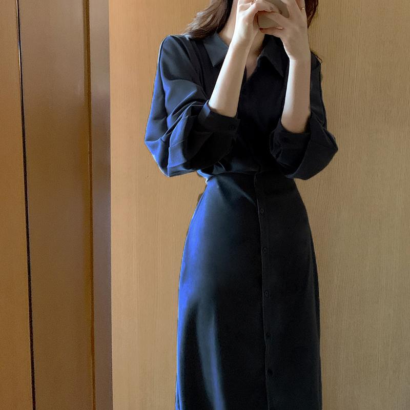 韓国 ファッション ワンピース 春 秋 冬 カジュアル PTXJ735  ドルマンスリーブ シャツワンピ Yライン オルチャン シンプル 定番 セレカジの写真4枚目