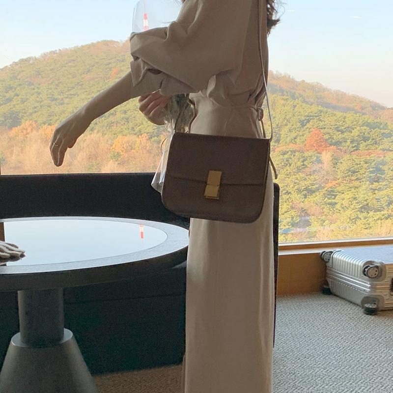 韓国 ファッション ワンピース 春 秋 冬 カジュアル PTXJ735  ドルマンスリーブ シャツワンピ Yライン オルチャン シンプル 定番 セレカジの写真6枚目