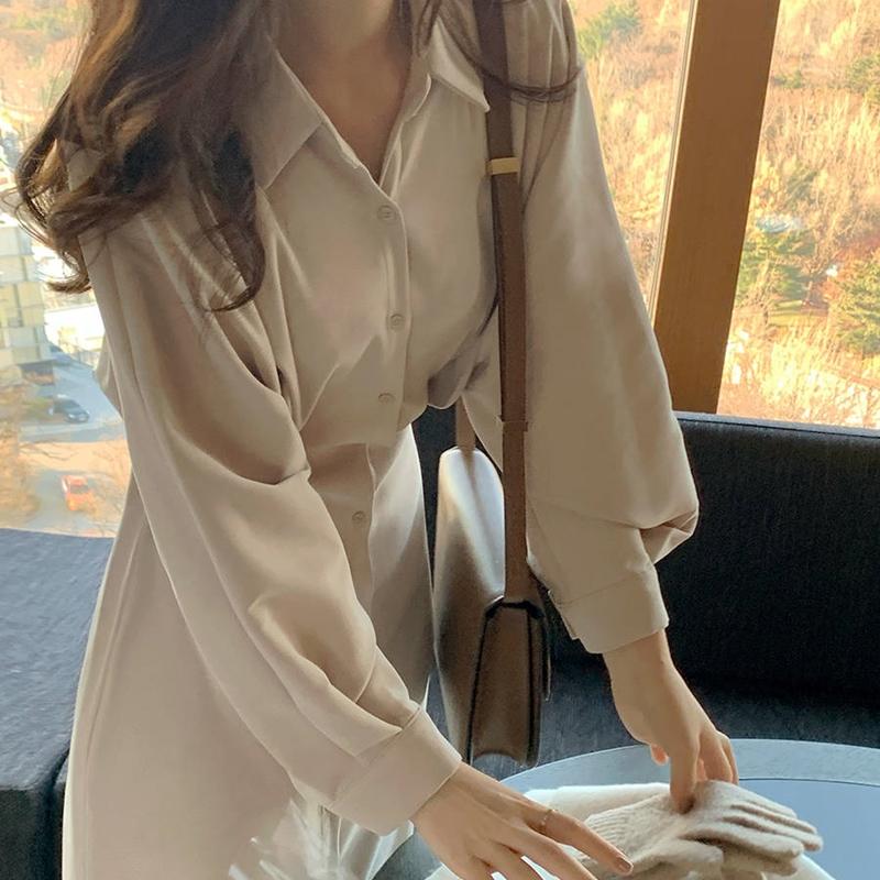 韓国 ファッション ワンピース 春 秋 冬 カジュアル PTXJ735  ドルマンスリーブ シャツワンピ Yライン オルチャン シンプル 定番 セレカジの写真8枚目
