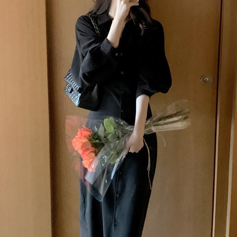 韓国 ファッション ワンピース 春 秋 冬 カジュアル PTXJ735  ドルマンスリーブ シャツワンピ Yライン オルチャン シンプル 定番 セレカジの写真10枚目