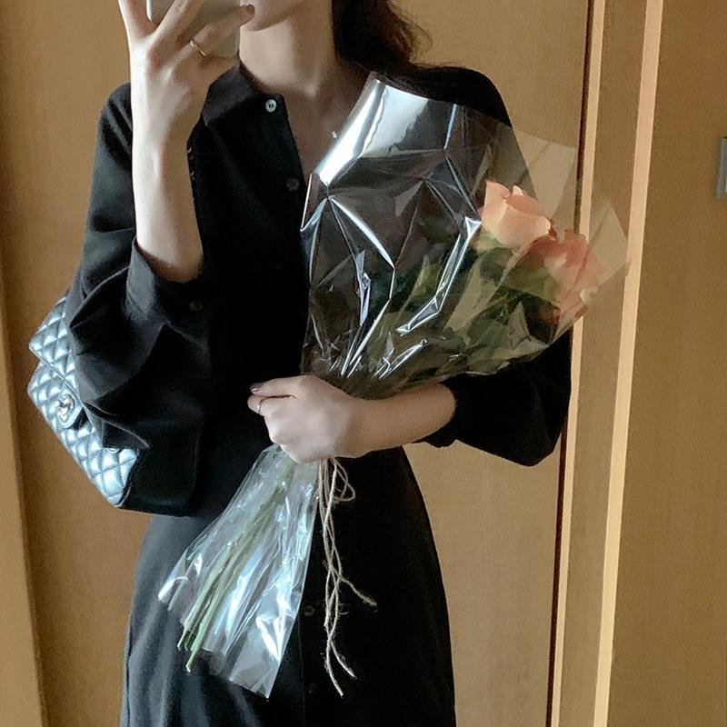 韓国 ファッション ワンピース 春 秋 冬 カジュアル PTXJ735  ドルマンスリーブ シャツワンピ Yライン オルチャン シンプル 定番 セレカジの写真12枚目