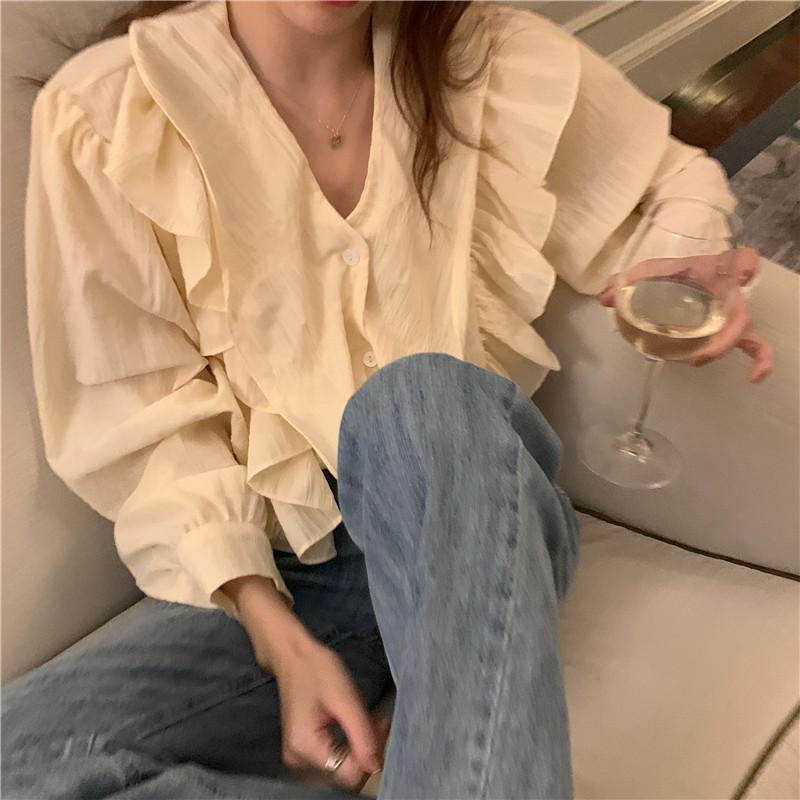 韓国 ファッション トップス ブラウス シャツ 春 夏 秋 カジュアル PTXJ745  フリル オーバーサイズ シワ加工 ビッグカラー オルチャン シンプル 定番 セレカジの写真11枚目