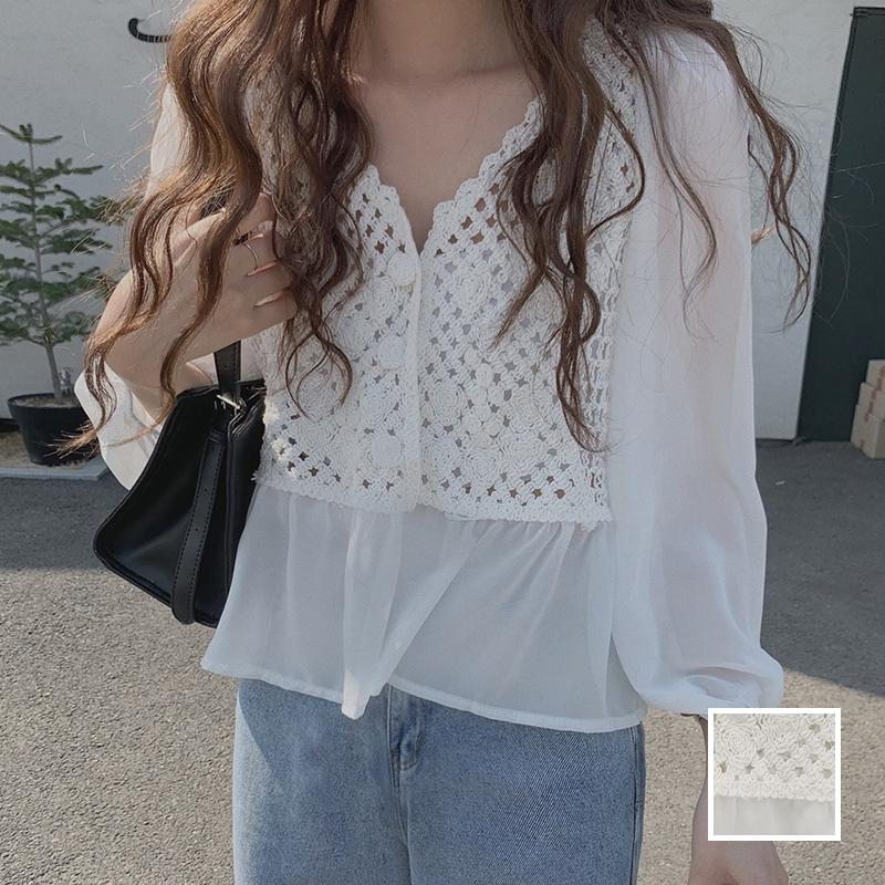 韓国 ファッション トップス ブラウス シャツ 春 夏 カジュアル PTXJ753  透かし編みニット シアー ドッキング ペプラム オルチャン シンプル 定番 セレカジの写真1枚目
