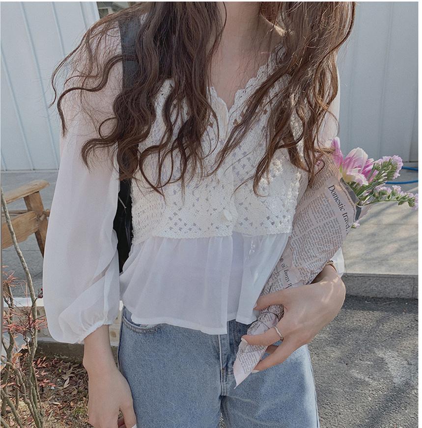 韓国 ファッション トップス ブラウス シャツ 春 夏 カジュアル PTXJ753  透かし編みニット シアー ドッキング ペプラム オルチャン シンプル 定番 セレカジの写真2枚目