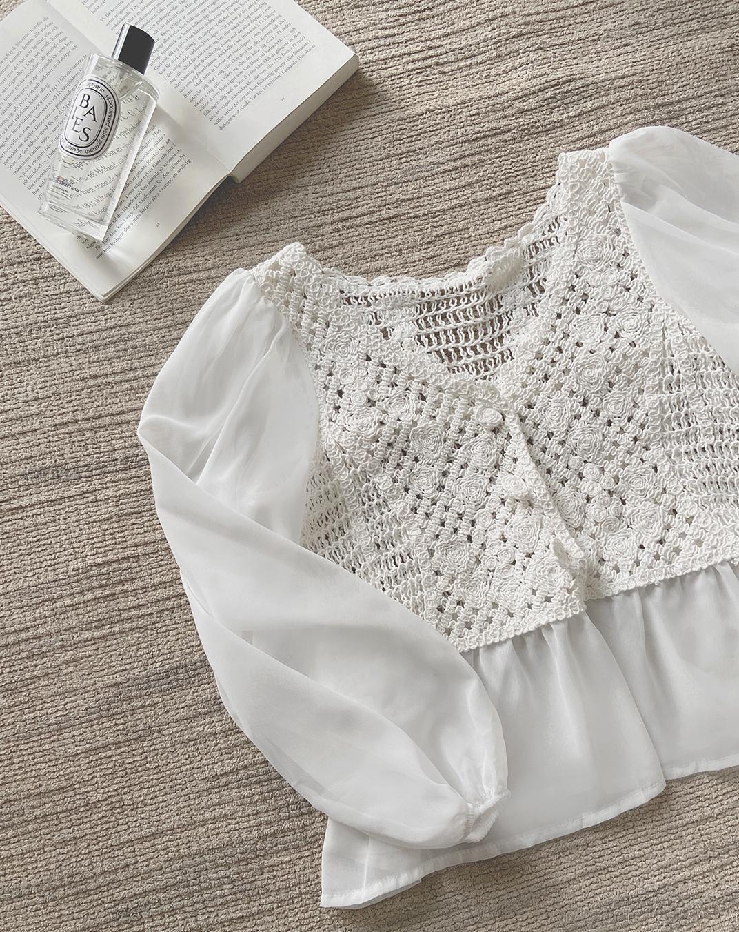 韓国 ファッション トップス ブラウス シャツ 春 夏 カジュアル PTXJ753  透かし編みニット シアー ドッキング ペプラム オルチャン シンプル 定番 セレカジの写真6枚目