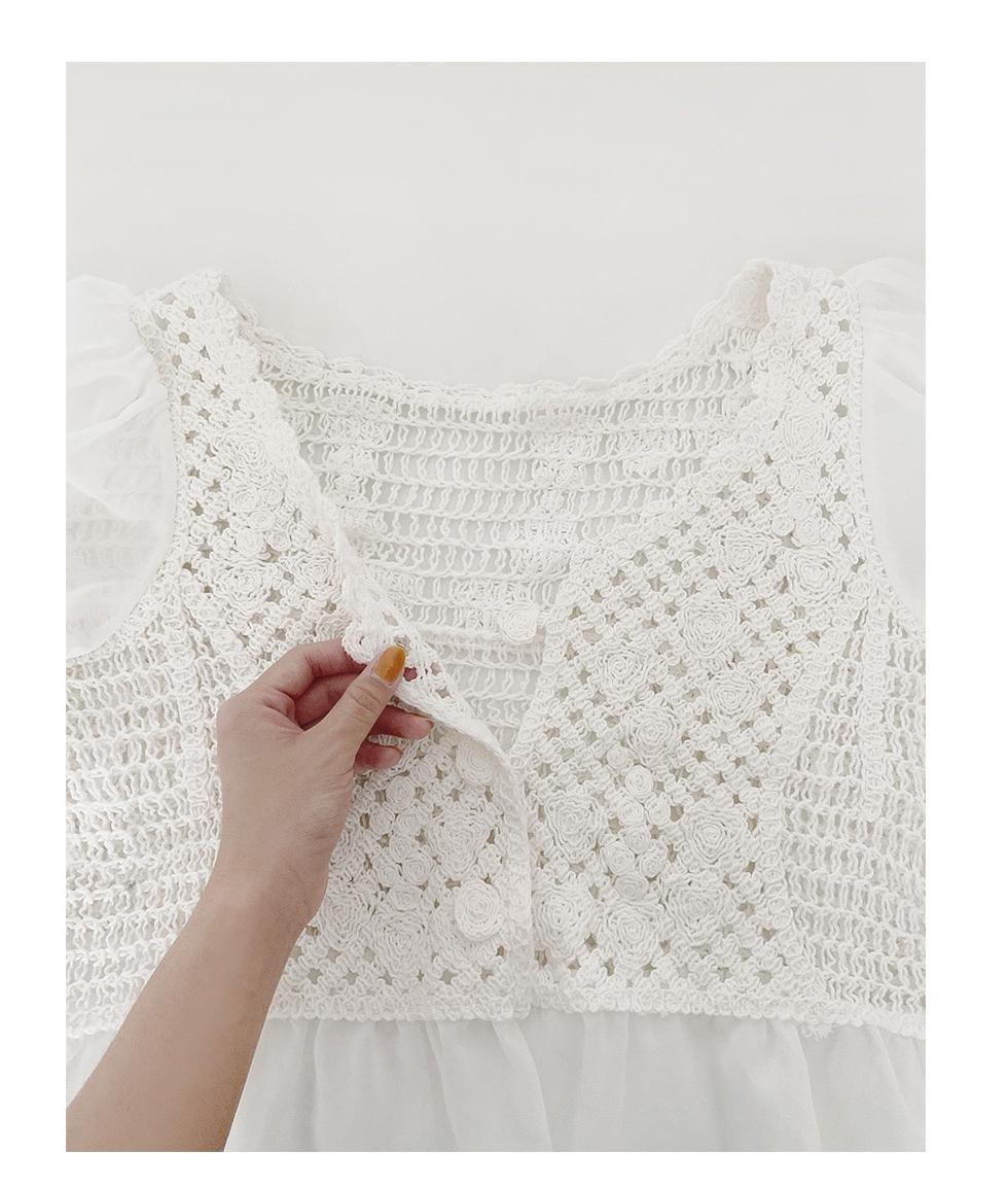 韓国 ファッション トップス ブラウス シャツ 春 夏 カジュアル PTXJ753  透かし編みニット シアー ドッキング ペプラム オルチャン シンプル 定番 セレカジの写真8枚目
