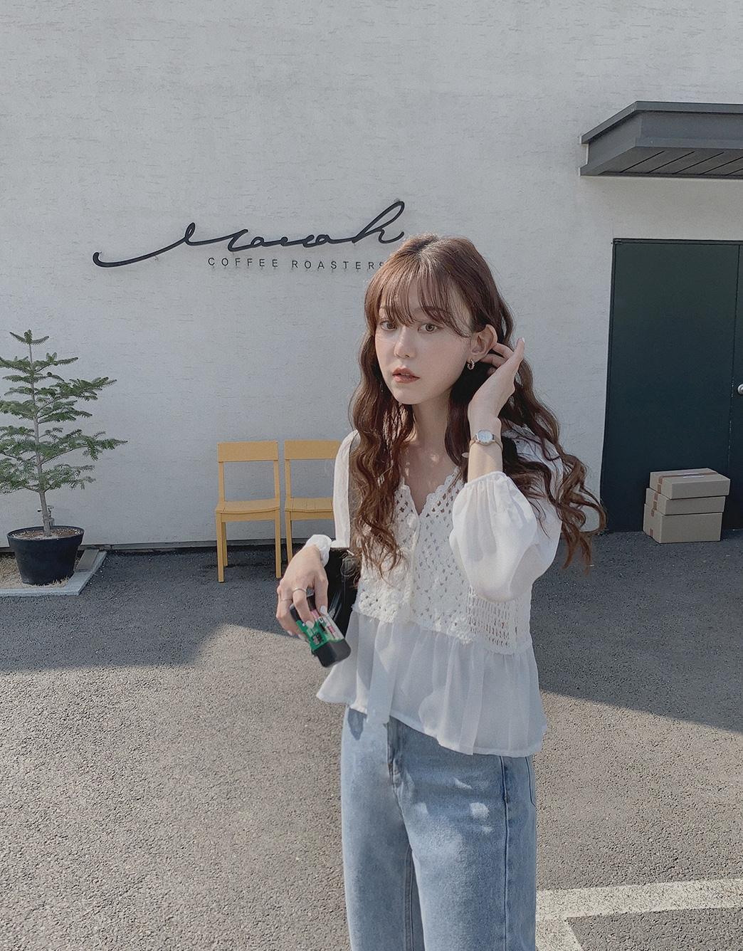 韓国 ファッション トップス ブラウス シャツ 春 夏 カジュアル PTXJ753  透かし編みニット シアー ドッキング ペプラム オルチャン シンプル 定番 セレカジの写真11枚目