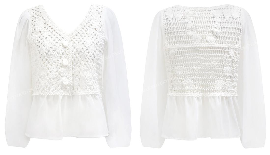 韓国 ファッション トップス ブラウス シャツ 春 夏 カジュアル PTXJ753  透かし編みニット シアー ドッキング ペプラム オルチャン シンプル 定番 セレカジの写真20枚目
