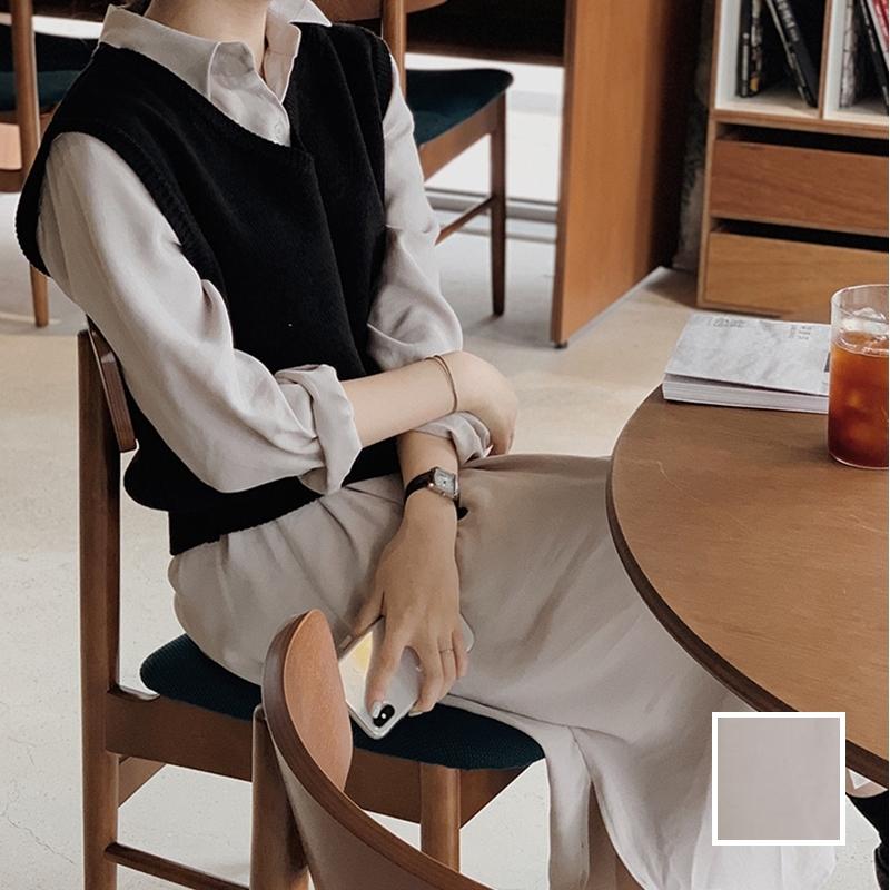 韓国 ファッション セットアップ 春 夏 秋 カジュアル PTXJ760  オーバーサイズ シャツワンピ ベスト ゆったり オルチャン シンプル 定番 セレカジの写真1枚目