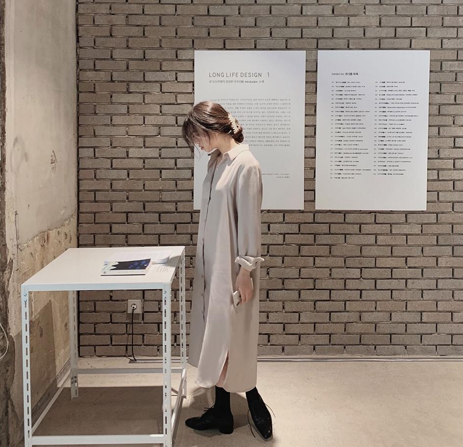 韓国 ファッション セットアップ 春 夏 秋 カジュアル PTXJ760  オーバーサイズ シャツワンピ ベスト ゆったり オルチャン シンプル 定番 セレカジの写真2枚目
