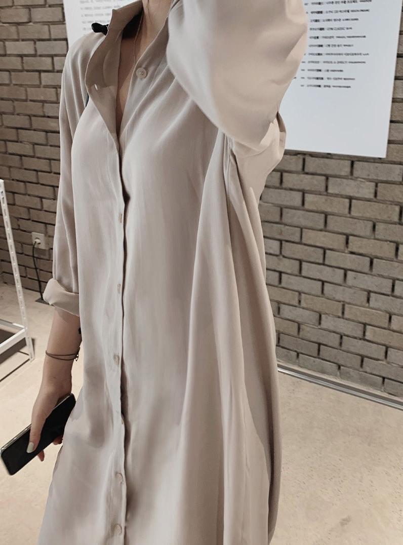 韓国 ファッション セットアップ 春 夏 秋 カジュアル PTXJ760  オーバーサイズ シャツワンピ ベスト ゆったり オルチャン シンプル 定番 セレカジの写真4枚目