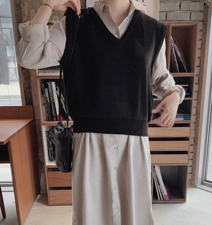 韓国 ファッション セットアップ 春 夏 秋 カジュアル PTXJ760  オーバーサイズ シャツワンピ ベスト ゆったり オルチャン シンプル 定番 セレカジの写真5枚目