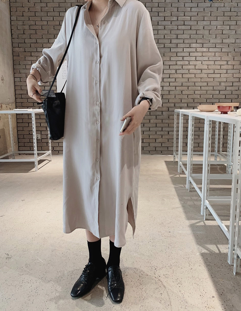 韓国 ファッション セットアップ 春 夏 秋 カジュアル PTXJ760  オーバーサイズ シャツワンピ ベスト ゆったり オルチャン シンプル 定番 セレカジの写真12枚目