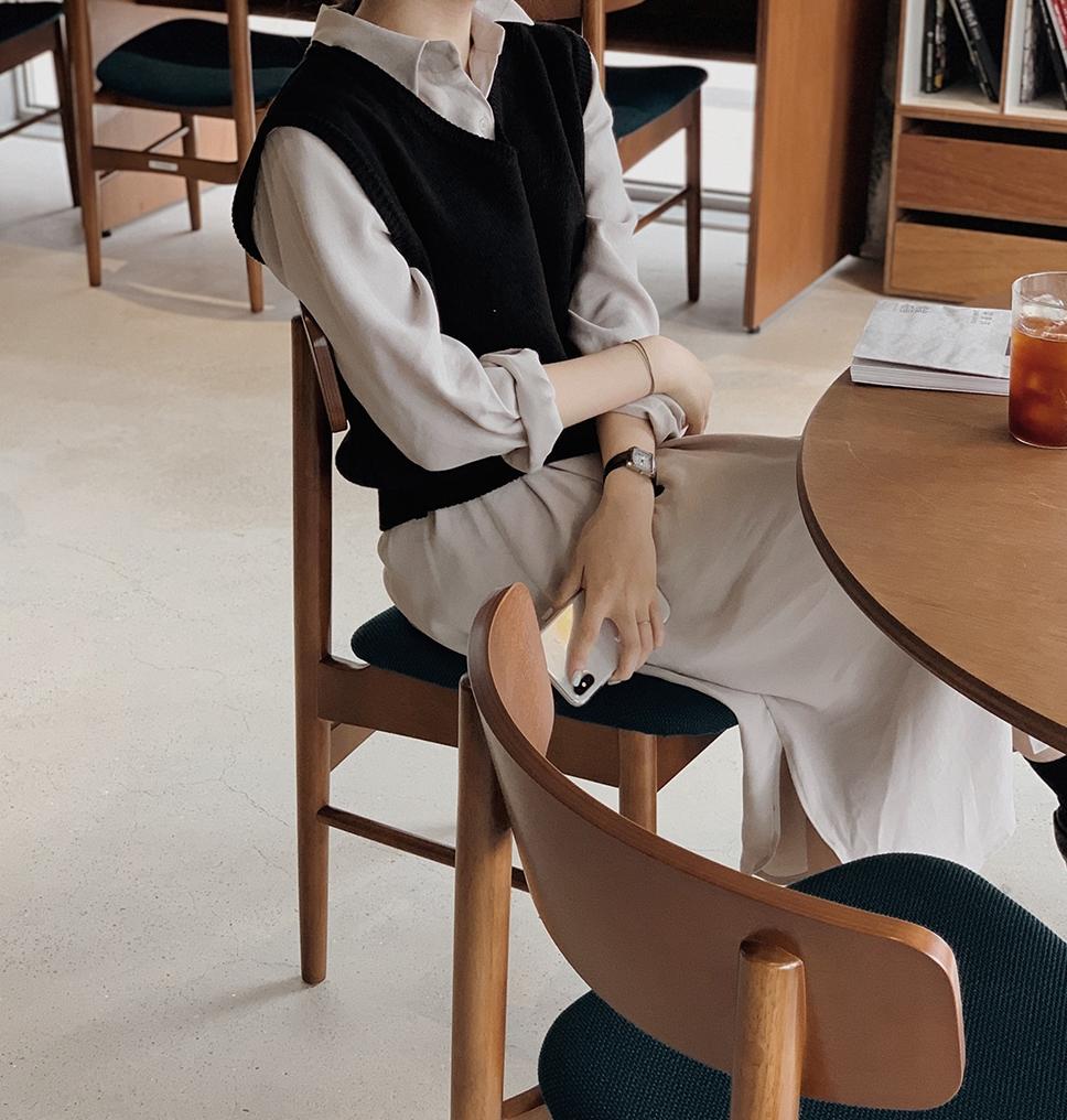 韓国 ファッション セットアップ 春 夏 秋 カジュアル PTXJ760  オーバーサイズ シャツワンピ ベスト ゆったり オルチャン シンプル 定番 セレカジの写真16枚目