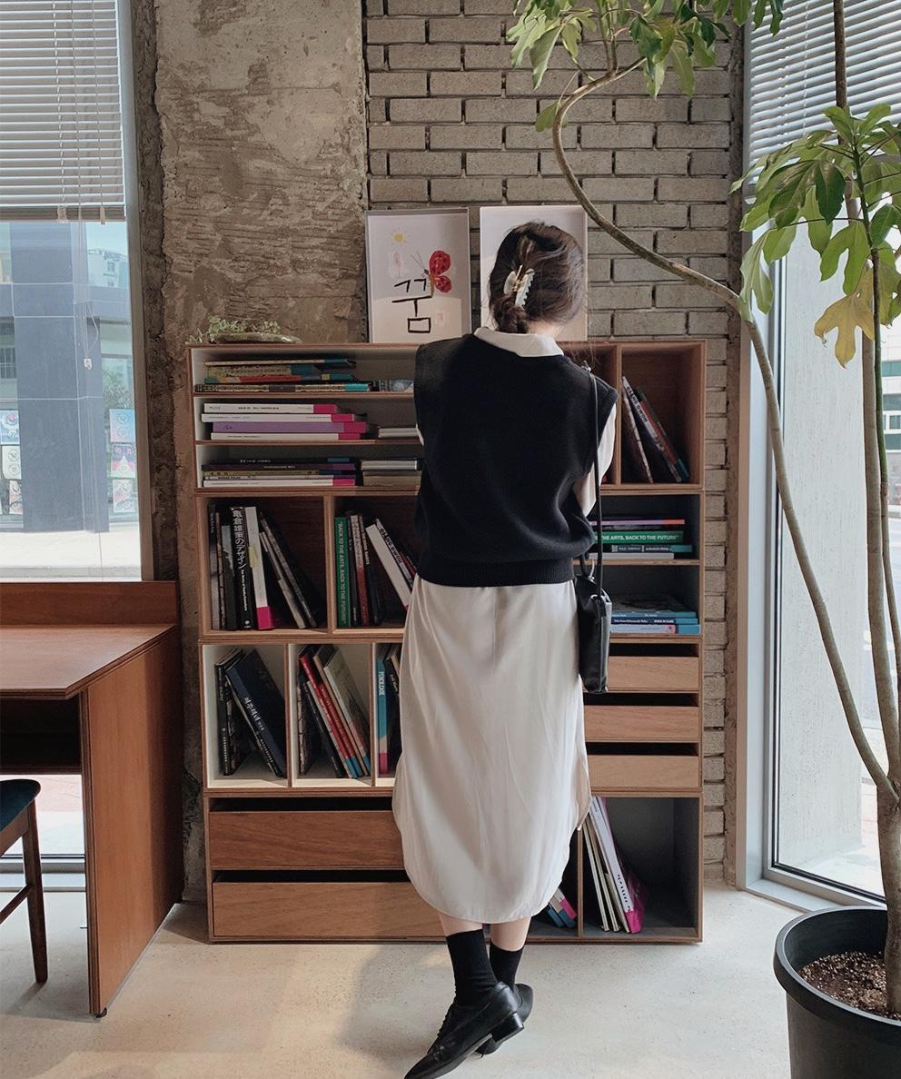 韓国 ファッション セットアップ 春 夏 秋 カジュアル PTXJ760  オーバーサイズ シャツワンピ ベスト ゆったり オルチャン シンプル 定番 セレカジの写真18枚目