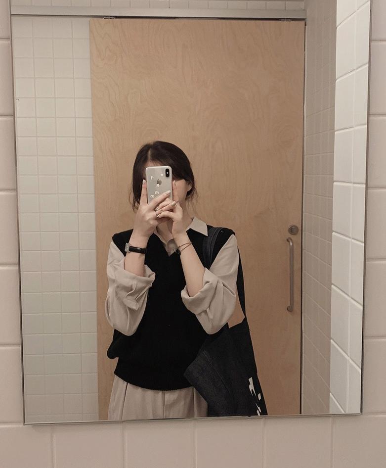 韓国 ファッション セットアップ 春 夏 秋 カジュアル PTXJ760  オーバーサイズ シャツワンピ ベスト ゆったり オルチャン シンプル 定番 セレカジの写真20枚目