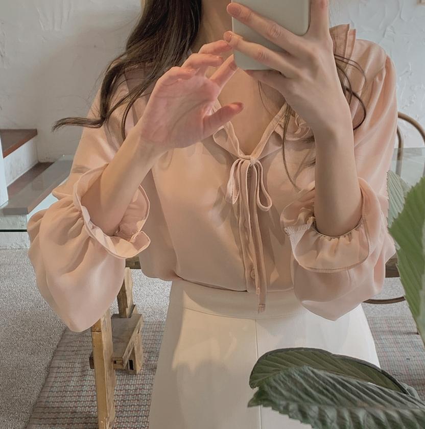 韓国 ファッション トップス ブラウス シャツ 春 夏 秋 カジュアル PTXJ762  フリル シアー ダブルカラー リボン 渋色 オルチャン シンプル 定番 セレカジの写真4枚目
