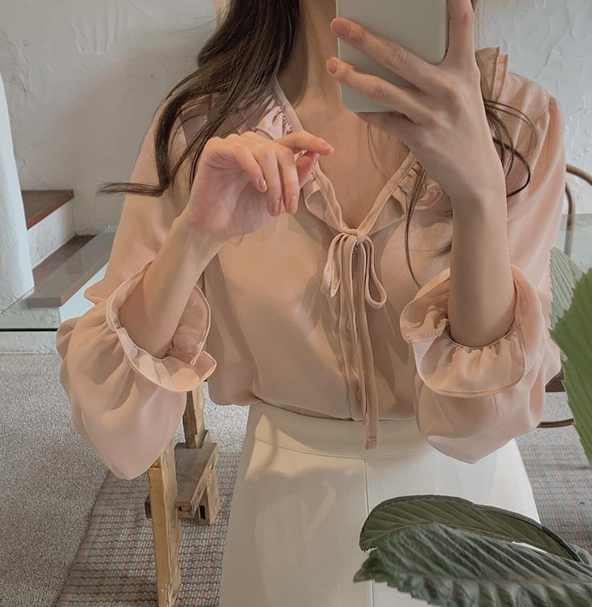韓国 ファッション トップス ブラウス シャツ 春 夏 秋 カジュアル PTXJ762  フリル シアー ダブルカラー リボン 渋色 オルチャン シンプル 定番 セレカジの写真5枚目