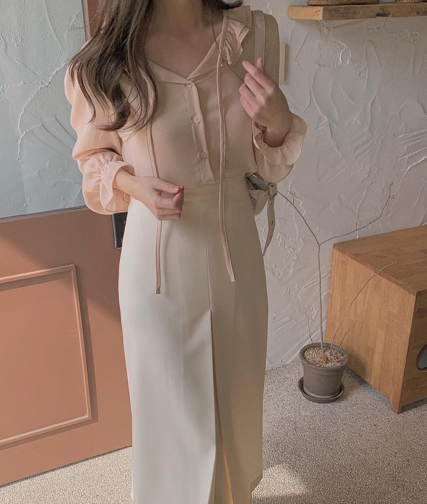 韓国 ファッション トップス ブラウス シャツ 春 夏 秋 カジュアル PTXJ762  フリル シアー ダブルカラー リボン 渋色 オルチャン シンプル 定番 セレカジの写真8枚目