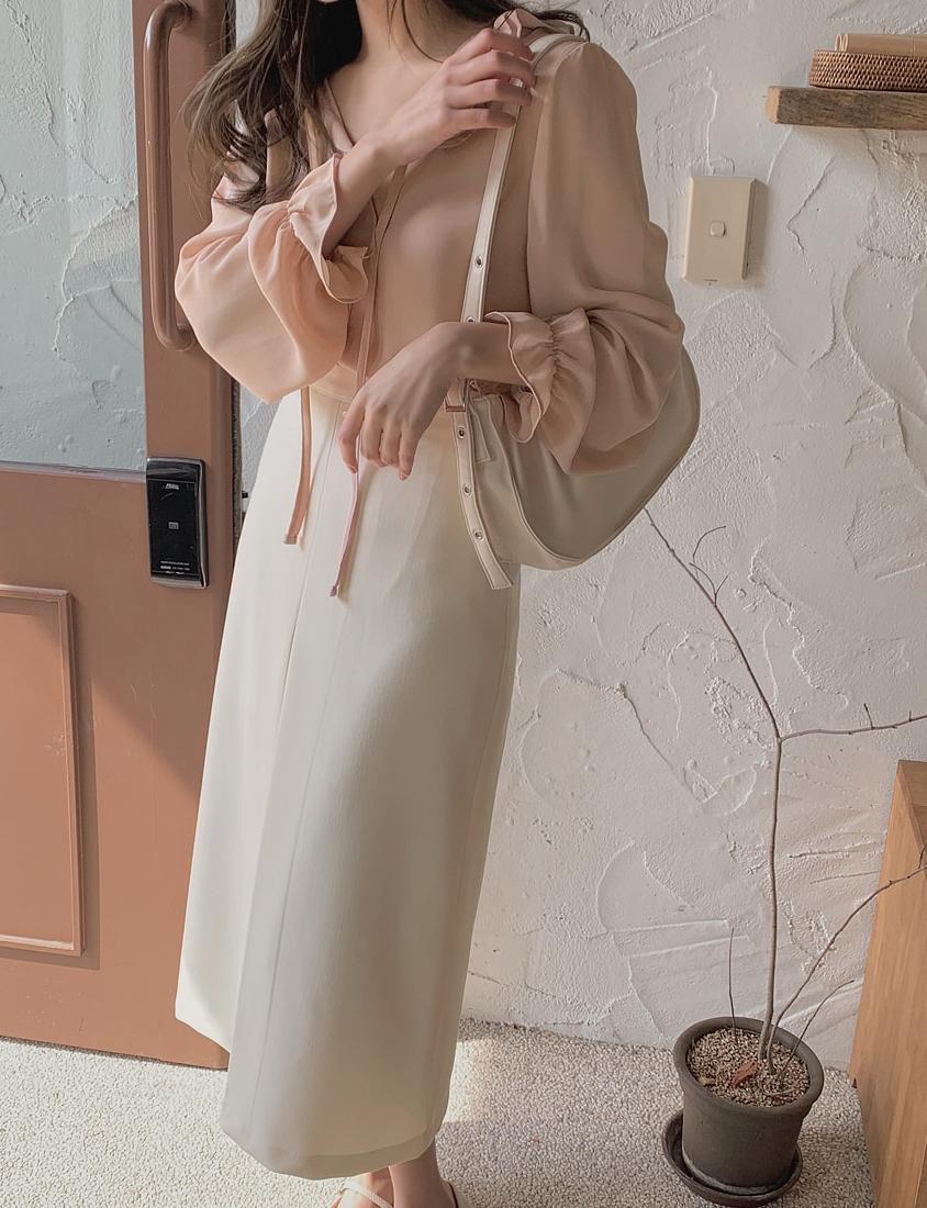 韓国 ファッション トップス ブラウス シャツ 春 夏 秋 カジュアル PTXJ762  フリル シアー ダブルカラー リボン 渋色 オルチャン シンプル 定番 セレカジの写真11枚目