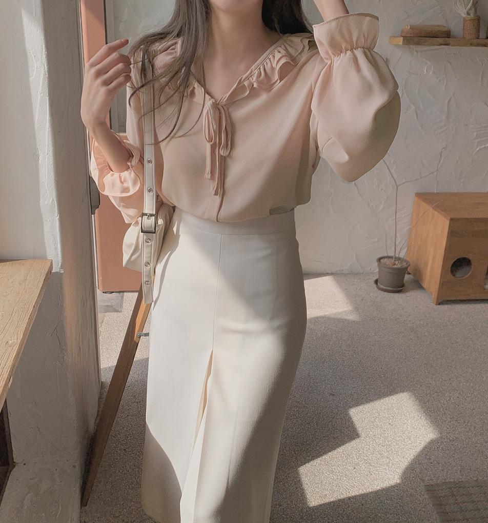 韓国 ファッション トップス ブラウス シャツ 春 夏 秋 カジュアル PTXJ762  フリル シアー ダブルカラー リボン 渋色 オルチャン シンプル 定番 セレカジの写真13枚目
