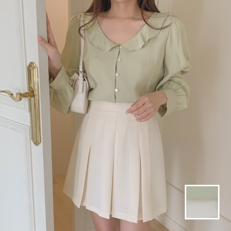 韓国 ファッション セットアップ 春 夏 秋 カジュアル PTXJ765  デコルテ見せ フリル プリーツ ミニスカート オルチャン シンプル 定番 セレカジの写真1枚目