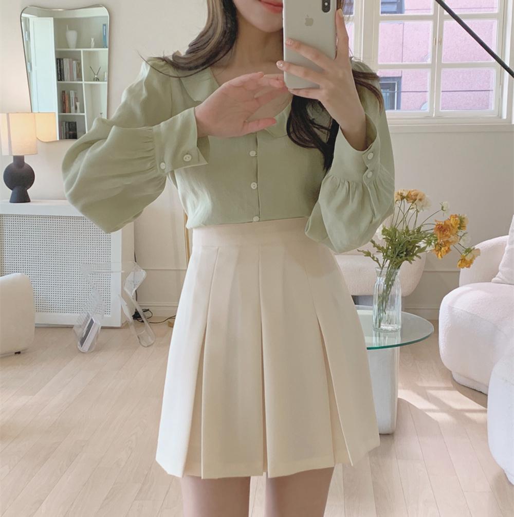 韓国 ファッション セットアップ 春 夏 秋 カジュアル PTXJ765  デコルテ見せ フリル プリーツ ミニスカート オルチャン シンプル 定番 セレカジの写真3枚目