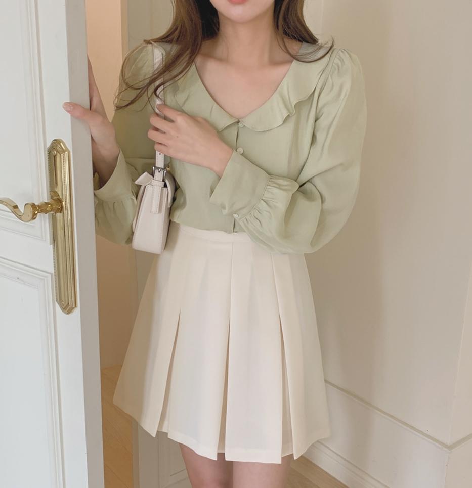 韓国 ファッション セットアップ 春 夏 秋 カジュアル PTXJ765  デコルテ見せ フリル プリーツ ミニスカート オルチャン シンプル 定番 セレカジの写真7枚目