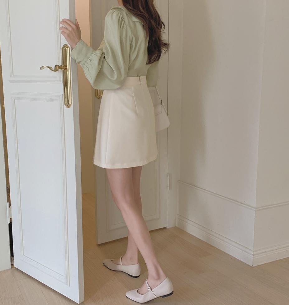 韓国 ファッション セットアップ 春 夏 秋 カジュアル PTXJ765  デコルテ見せ フリル プリーツ ミニスカート オルチャン シンプル 定番 セレカジの写真10枚目