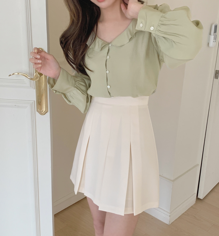 韓国 ファッション セットアップ 春 夏 秋 カジュアル PTXJ765  デコルテ見せ フリル プリーツ ミニスカート オルチャン シンプル 定番 セレカジの写真13枚目