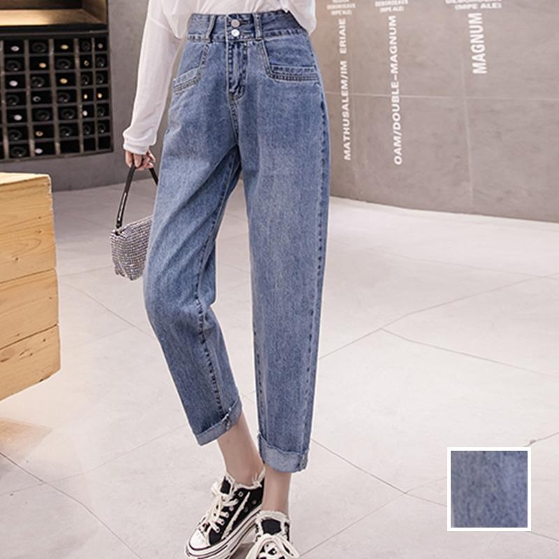 韓国 ファッション パンツ デニム ジーパン ボトムス 春 夏 秋 カジュアル PTXJ768  ハイライズ テーパード ワイド カットオフ オルチャン シンプル 定番 セレカジの写真1枚目