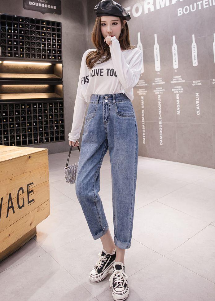 韓国 ファッション パンツ デニム ジーパン ボトムス 春 夏 秋 カジュアル PTXJ768  ハイライズ テーパード ワイド カットオフ オルチャン シンプル 定番 セレカジの写真13枚目
