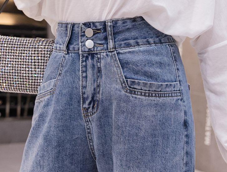 韓国 ファッション パンツ デニム ジーパン ボトムス 春 夏 秋 カジュアル PTXJ768  ハイライズ テーパード ワイド カットオフ オルチャン シンプル 定番 セレカジの写真16枚目