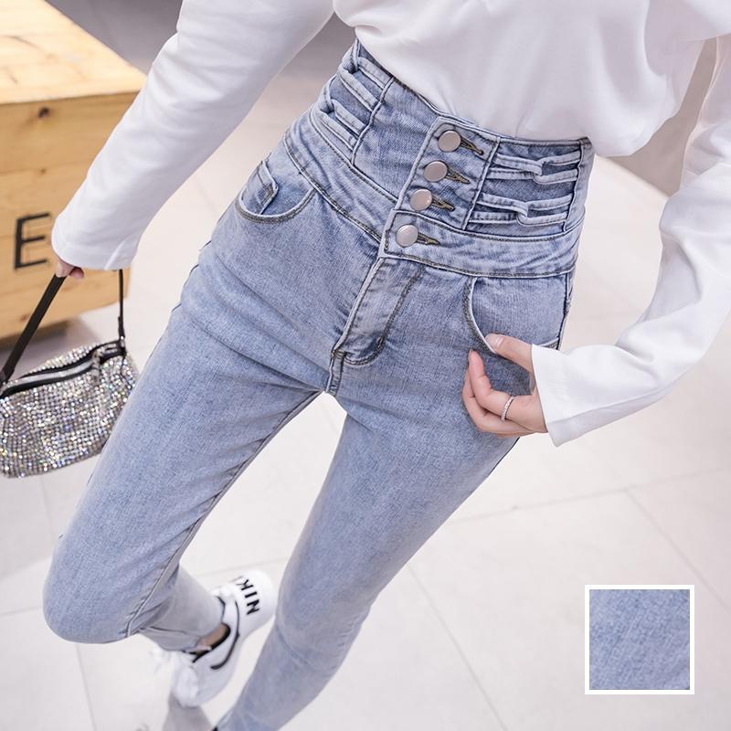 韓国 ファッション パンツ デニム ジーパン ボトムス 春 夏 秋 カジュアル PTXJ774  ハイウエスト レースアップ クロス スキニー オルチャン シンプル 定番 セレカジの写真1枚目